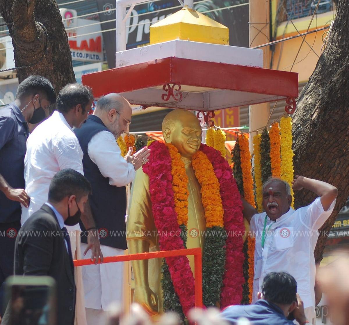 காமராஜர் சிலைக்கு மாலை அணிவித்த அமித்ஷா