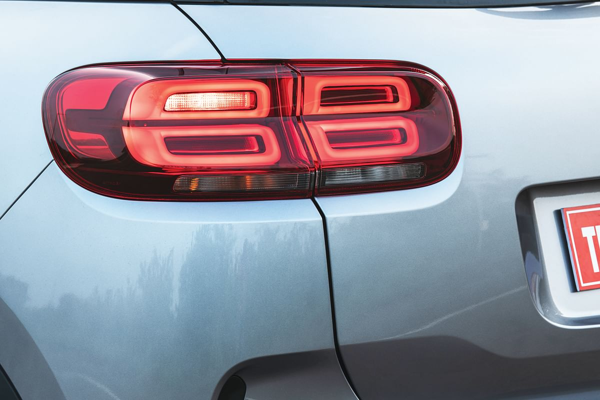 The design of the tail lights is unique.