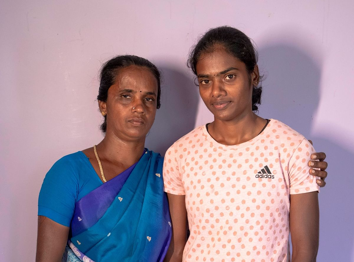 Dhanalakshmi with her mother