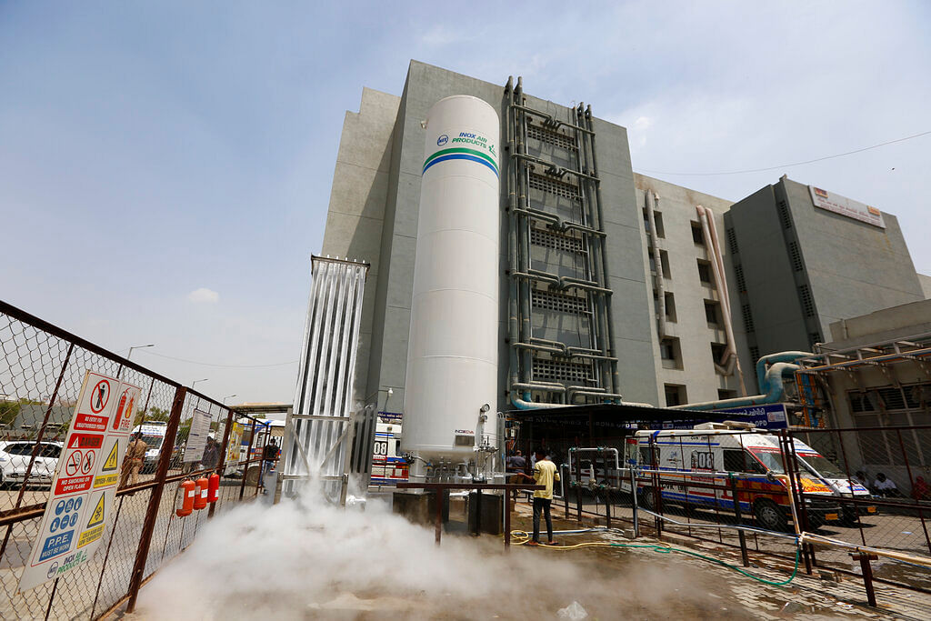 oxygen plant outside a dedicated COVID-19 government hospital in Ahmedabad, India