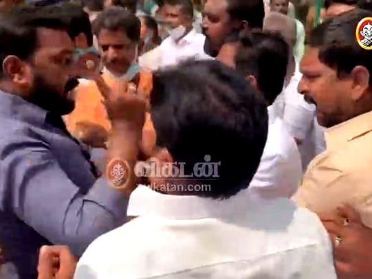 திமுக வேட்பாளர் கார்த்திகேய சிவசேனாபதியை தாக்க முயற்சியா?