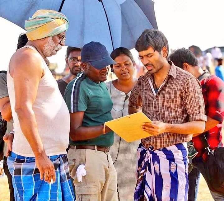 கர்ணன் படப்பிடிப்பில் மாரி செல்வராஜ், தனுஷ், லால்