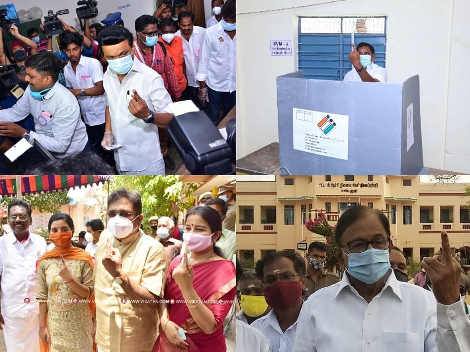 TN election 2021: அரசியல் கட்சித் தலைவர்கள் வாக்குப்பதிவும் கருத்தும்!