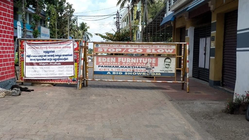 கொரோனா ஊரடங்கு காரணமாக தமிழக-கேரள எல்லை மூடல்