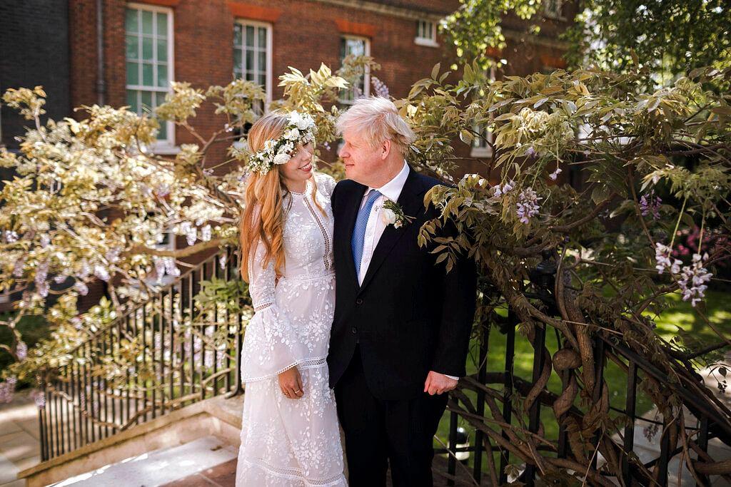 Britain's Prime Minister Boris Johnson and Carrie Johnson