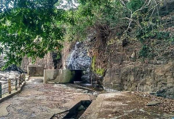 நீர் வரத்து தடைப்பட்டு வறண்டு கிடக்கும் அகஸ்தியர் அருவி