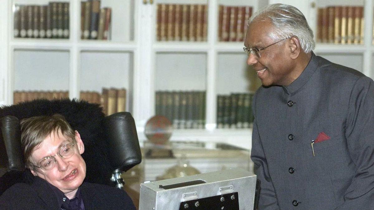 K R Narayanan with Stephen Hawking