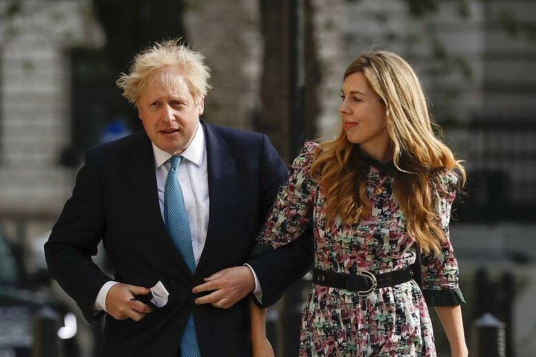 Boris Johnson with his partner Carrie Symonds