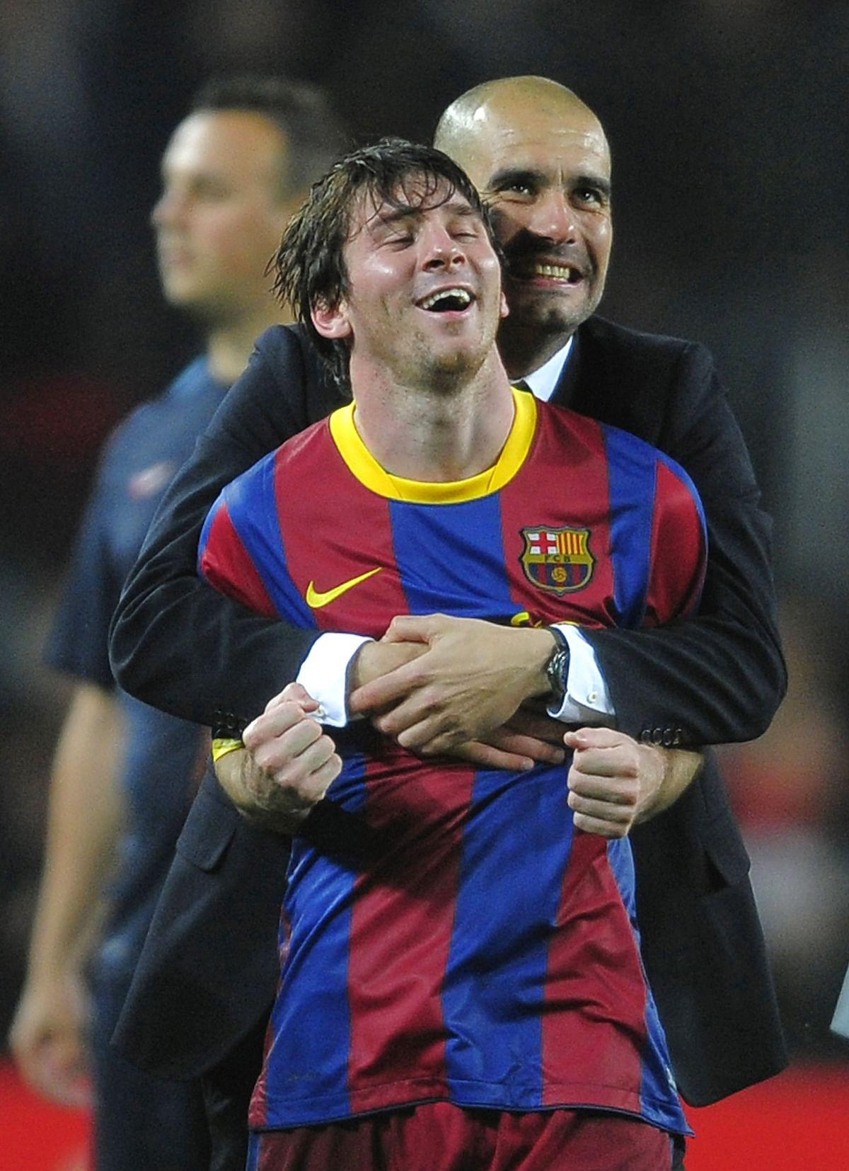 Leonel Messi with Pep Guardiola
