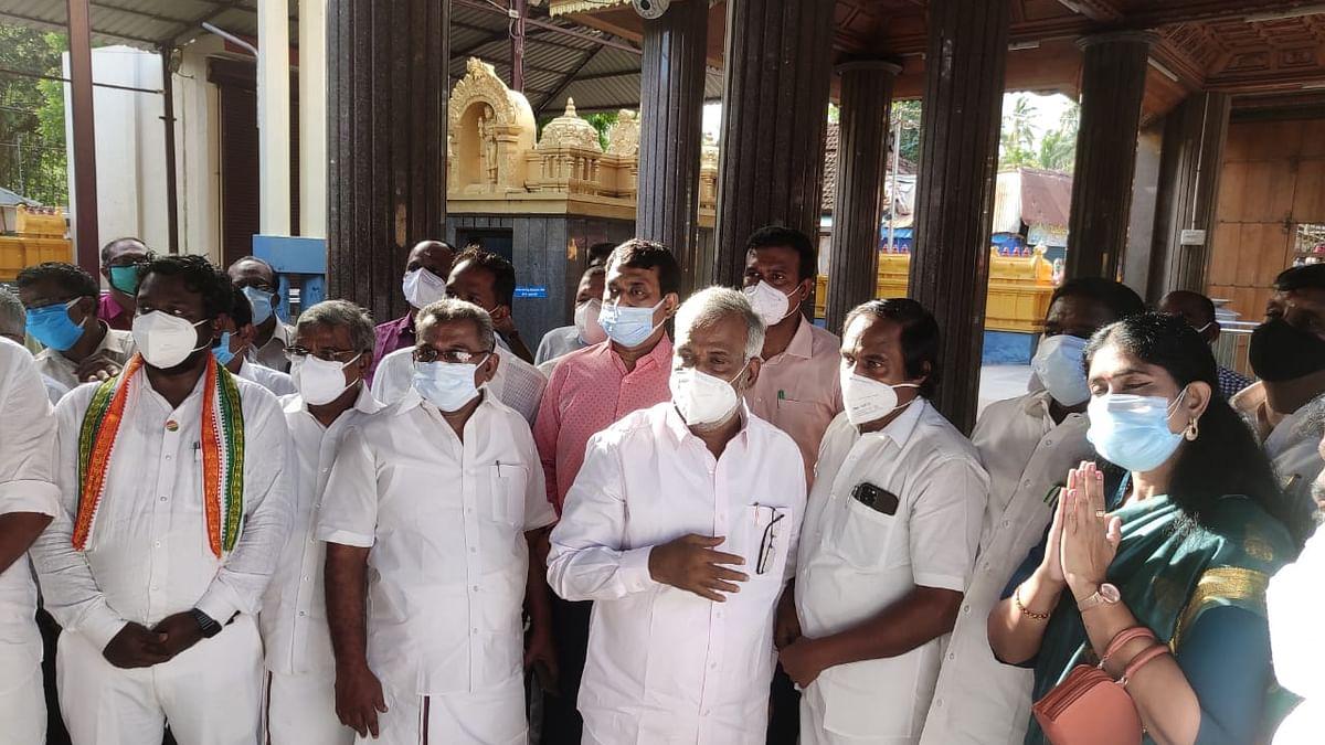 மண்டைக்காடு கோயிலில் ஆய்வு மேற்கொண்ட அமைச்சர் சேகர்பாபு