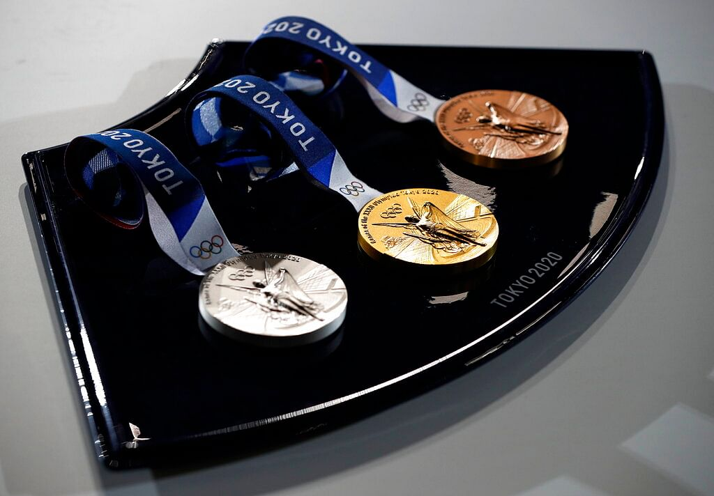 A medal tray that will be used during the victory ceremonies at the Tokyo 2020 Olympic