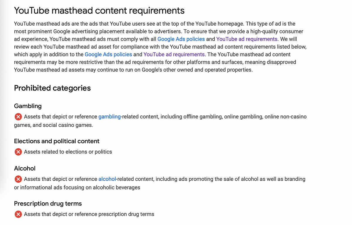 Youtube ad policy