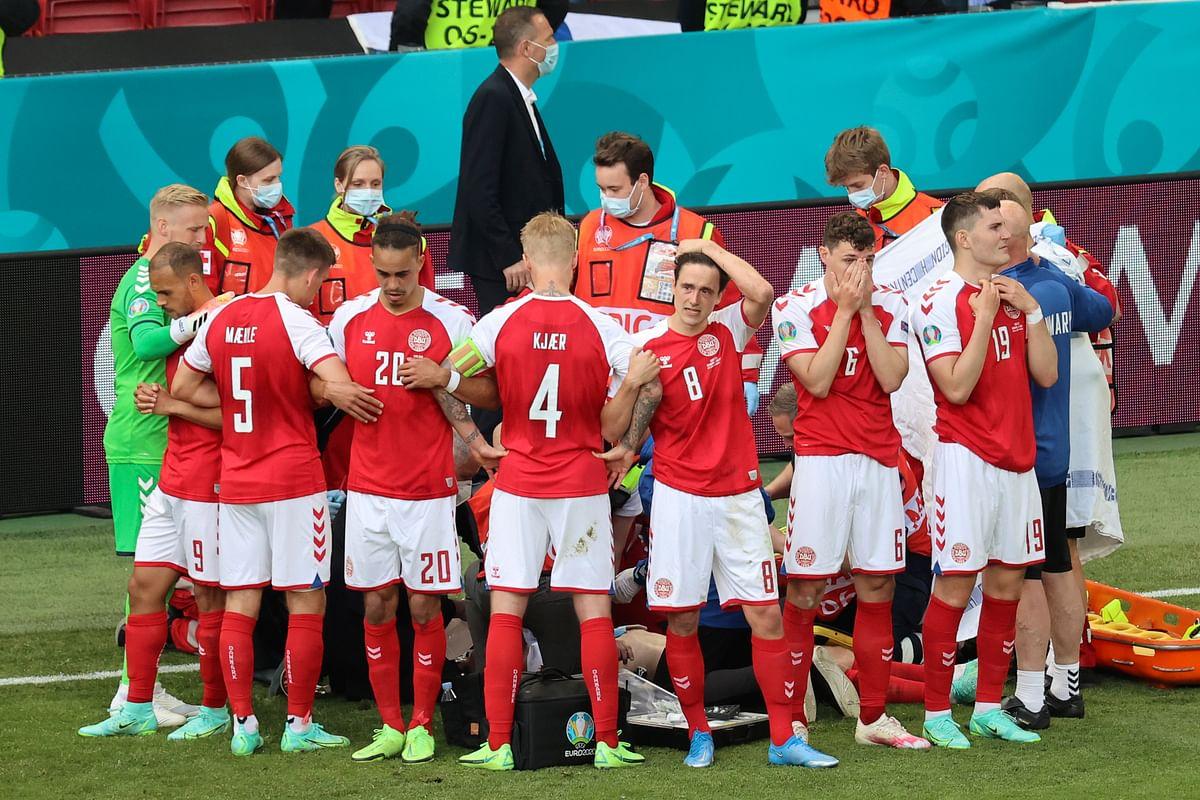Euro 2020 ஆட்டத்தின் நடுவே மயங்கி விழுந்த வீரர்... ஆட்டத்தை தொடர்ந்து நடத்திய கால்பந்து அமைப்பு!