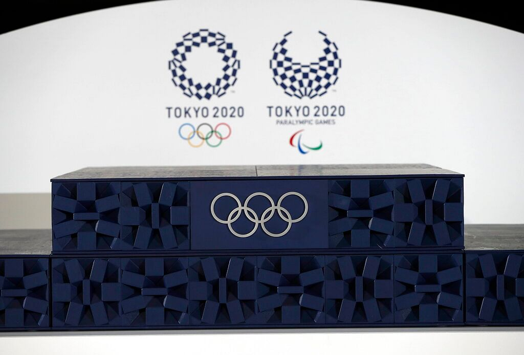 The Victory podium that will be used during the victory ceremonies at the Tokyo 2020 Olympic