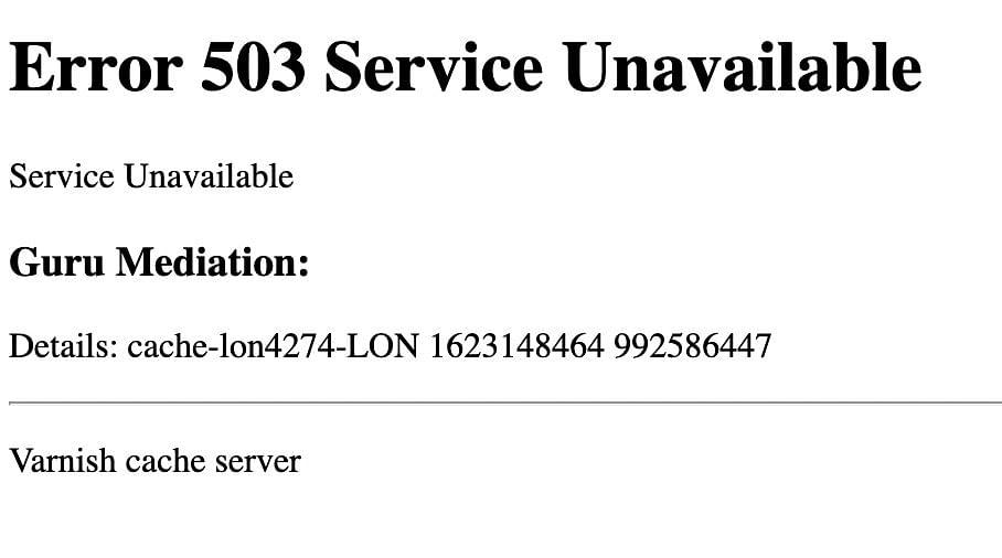 Error Message 503
