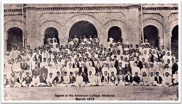 1919ல் அமெரிக்கன் கல்லூரியில் ரவீந்திரநாத் தாகூர்