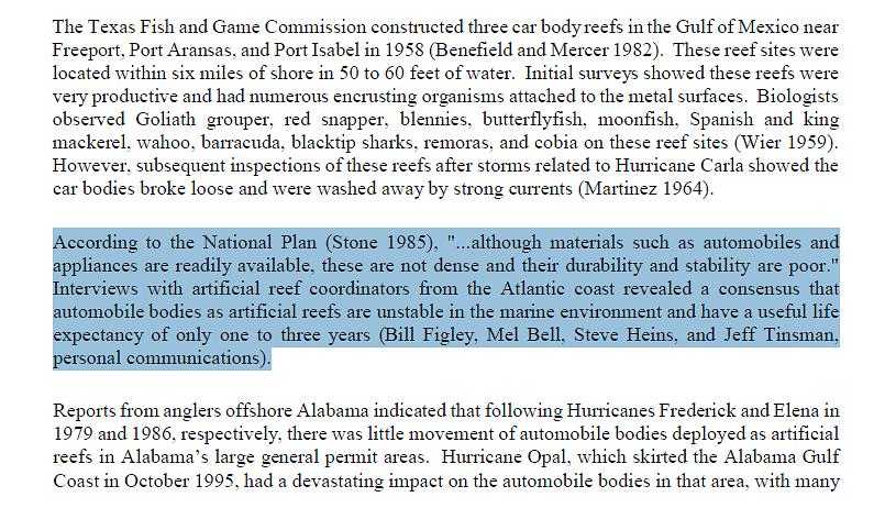 Artificial reef construction
