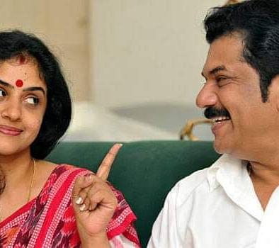 நடிகர் முகேஷ் மற்றும் இரண்டாவது மனைவி மேதில் தேவிகா