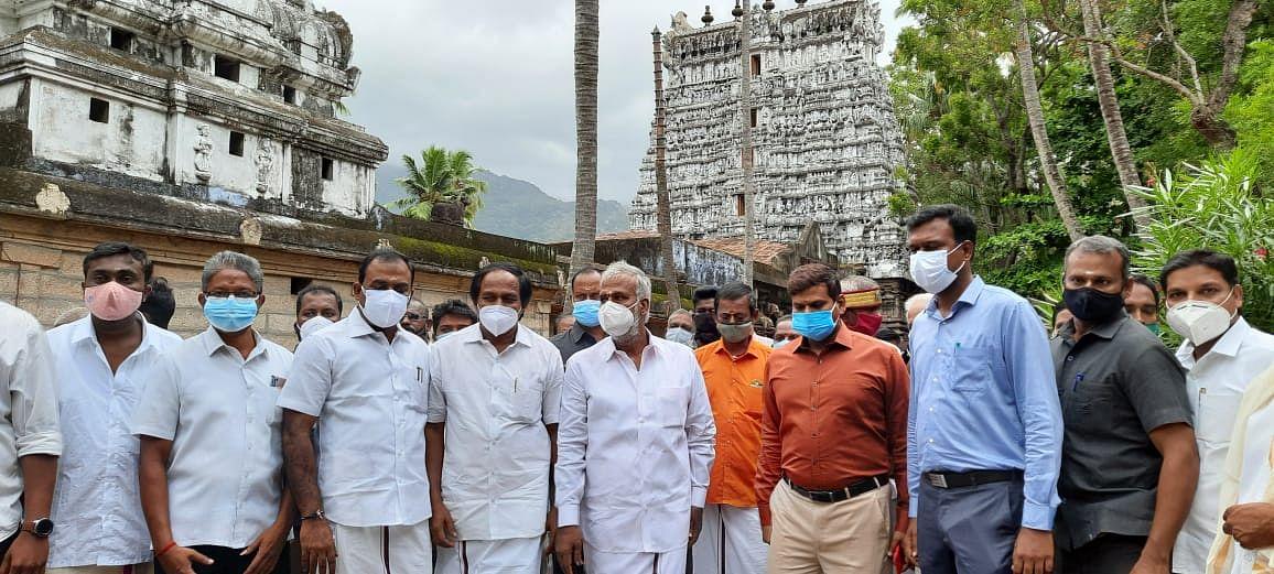 பத்மநாபபுரம் நீலகண்டசுவாமி கோயிலில் அமைச்சர் சேகர்பாபு ஆய்வு