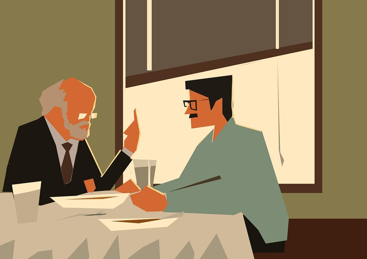Dr. Sharma (CTO) having a lunch conversation with Dr Bharath