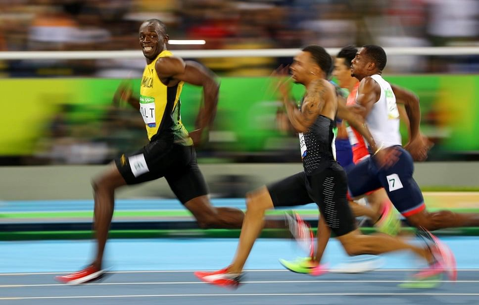 Bolt during the 100m semi final of the RIo Olympics