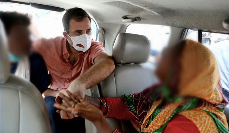 Rahul Gandhi with Victim's parents