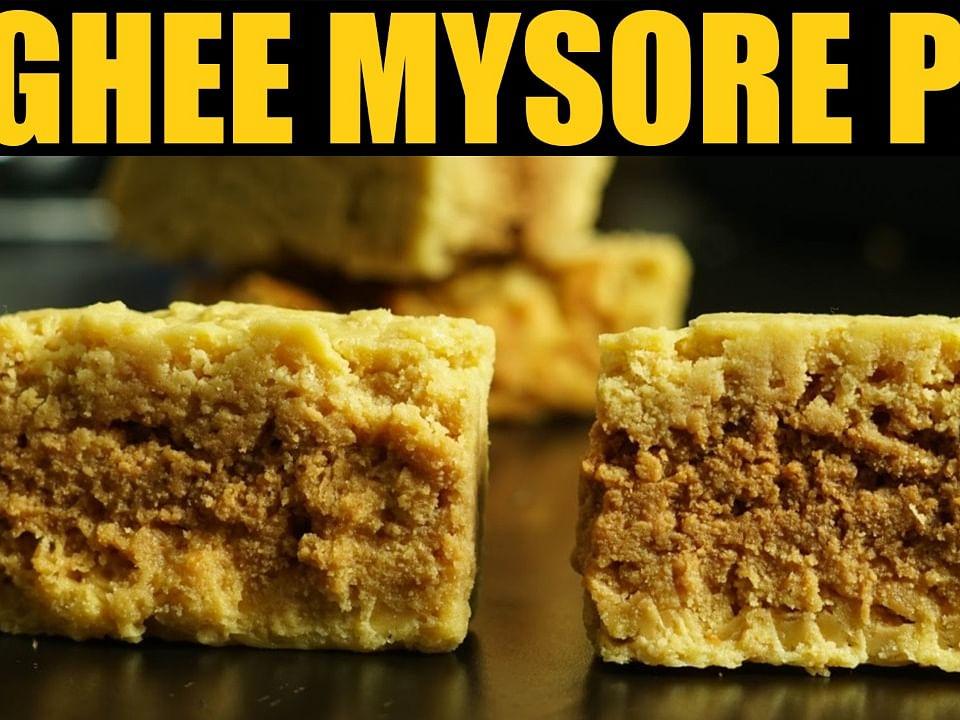 பாரம்பர்ய மைசூர் பாக் செய்வது எப்படி?   Traditional Mysore Pak Recipe Made With Ghee