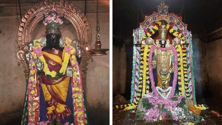 அம்பாளுக்குத் திருப்பதி வேங்கடபதியின் அலங்காரம்