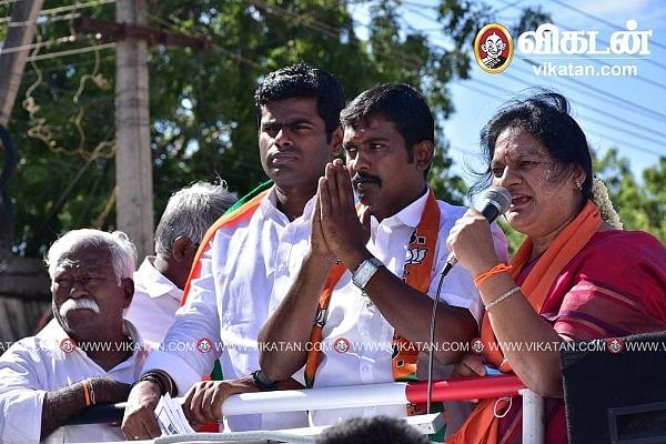 தேர்தல் பிரசாரத்தில் அண்ணாமலையுடன் எம்.ஆர்.காந்தி, சசிகலா புஷ்பா