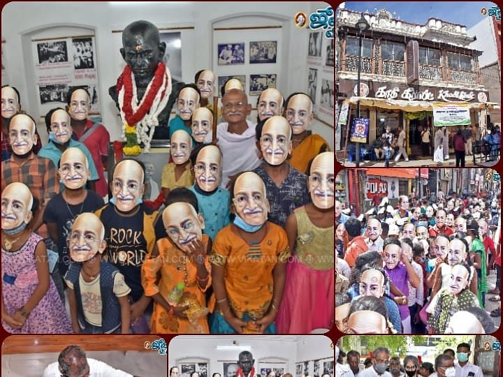 மதுரையில் மகாத்மா காந்தி அரையாடை புரட்சி செய்த நூற்றாண்டு தினக் கொண்டாட்டம் #VikatanPhotoStory