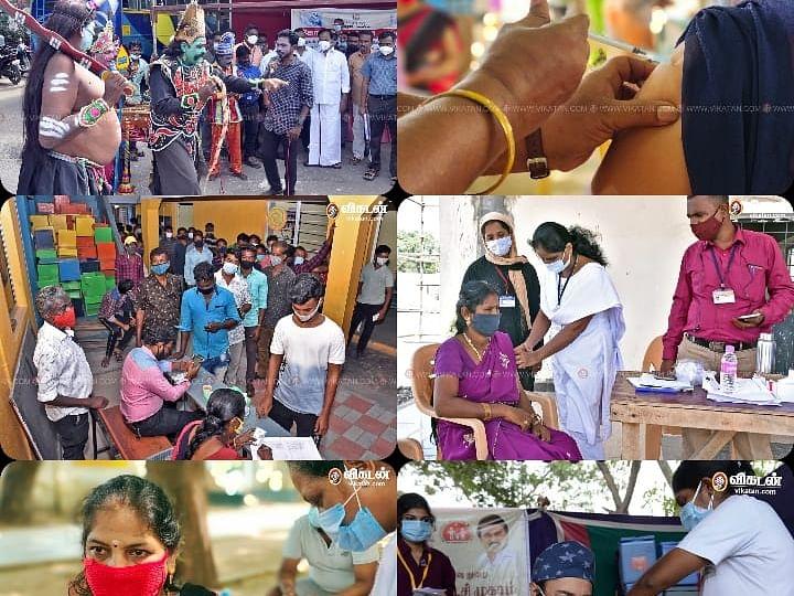 `கொரோனா தடுப்பூசி முகாம்': ஆர்வமான மக்கள்; சளைக்காத மருத்துவப் பணியாளர்கள்! #VikatanPhotoStory