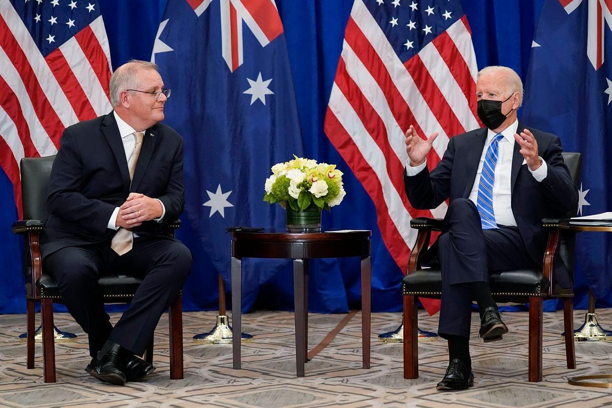 President Joe Biden meets with Australian Prime Minister Scott Morrison