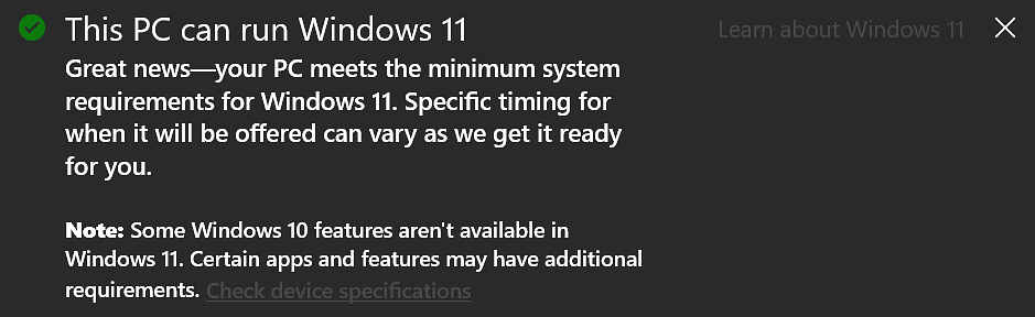 Windows 11 system requirements check
