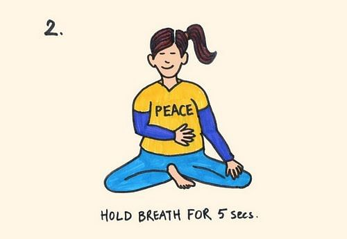 Step 2 Pause and hold your breath to a count of 5.