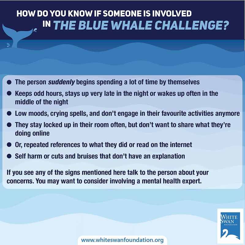 How do you know if someone is involved in the blue whale challenge?