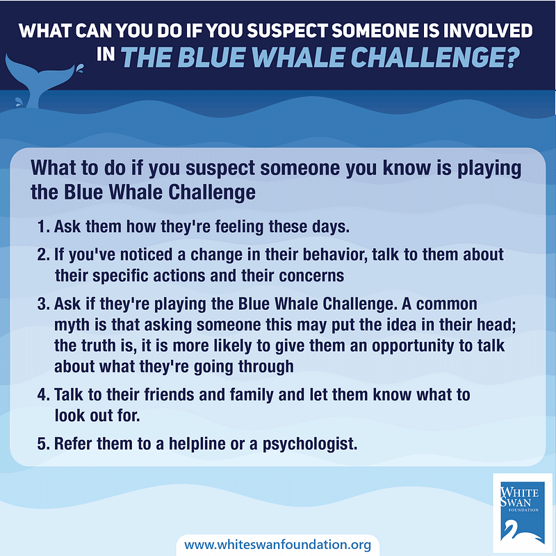 What can you do if someone is involved in the blue whale challenge?