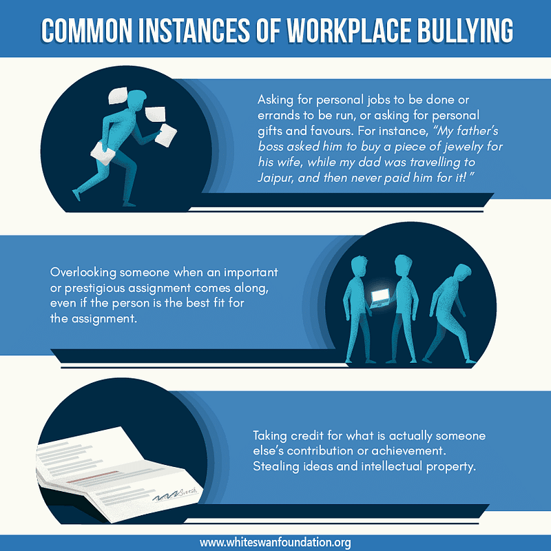 Common instances of workplace bullying