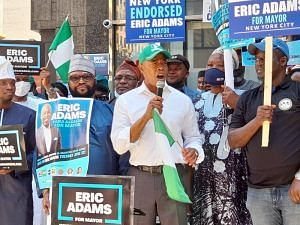 Eric Adams delivering his acceptance speech at the endorsement ceremony held at the Kudirat Abiola Corner in New York