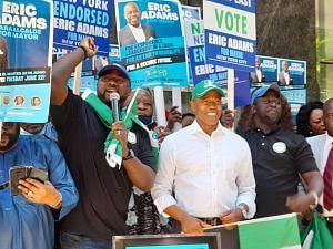 Mr Gbenga Omotayo, Chairman, Nigerian-Americans Public Affairs Committee (NAPAC) announcing the endorsement of Eric Adams on behalf of the Nigerian community.