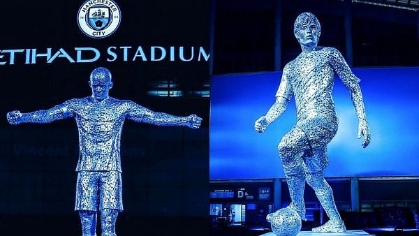 Man City unveils Vincent Kompany, David Silva statues ahead of Arsenal game