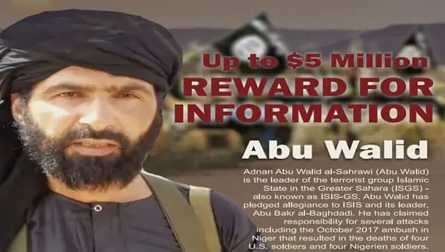 This undated image provided by Rewards For Justice shows a wanted poster of Adnan Abu Walid al-Sahrawi, the leader of Islamic State in the Greater Sahara.