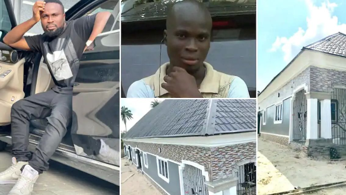 PHOTO: Comedian SirBalo gifts mother eight-bedroom aprtment in Lagos