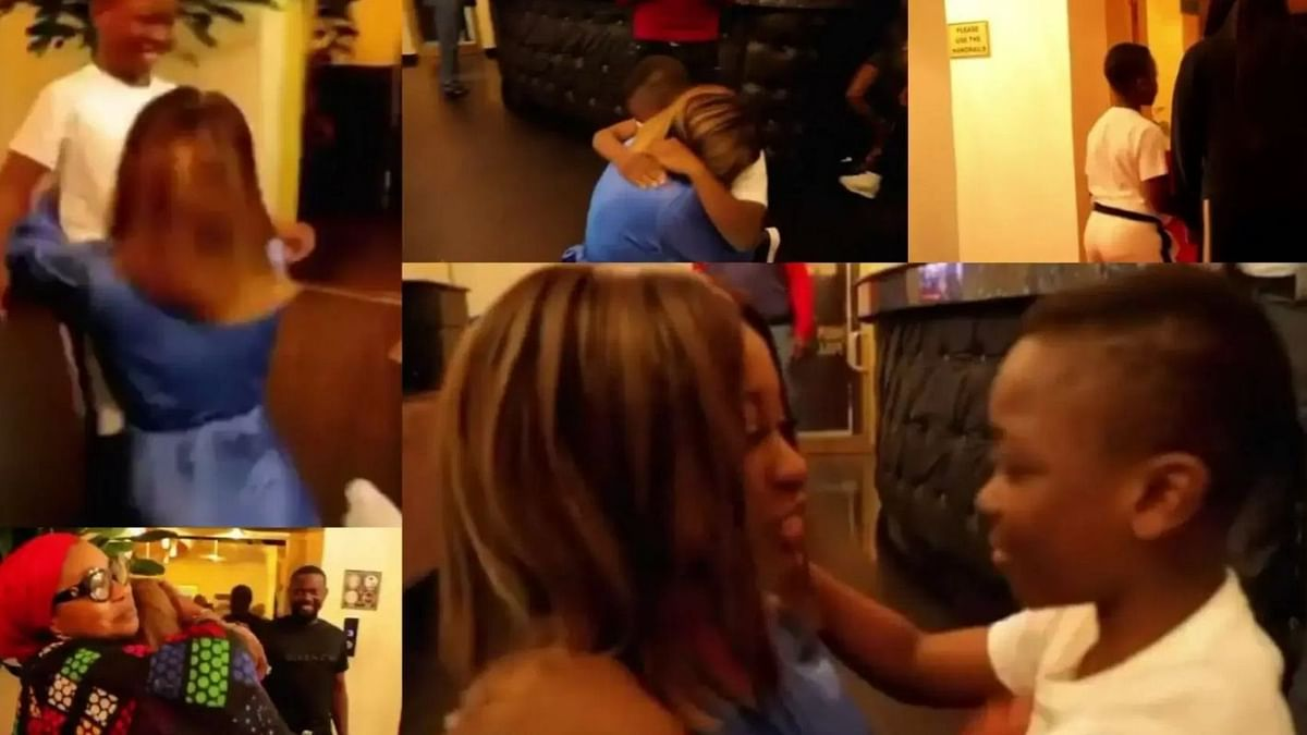 VIDEO: Emotional moment evicted housemate Jackie B reunites with mum, son