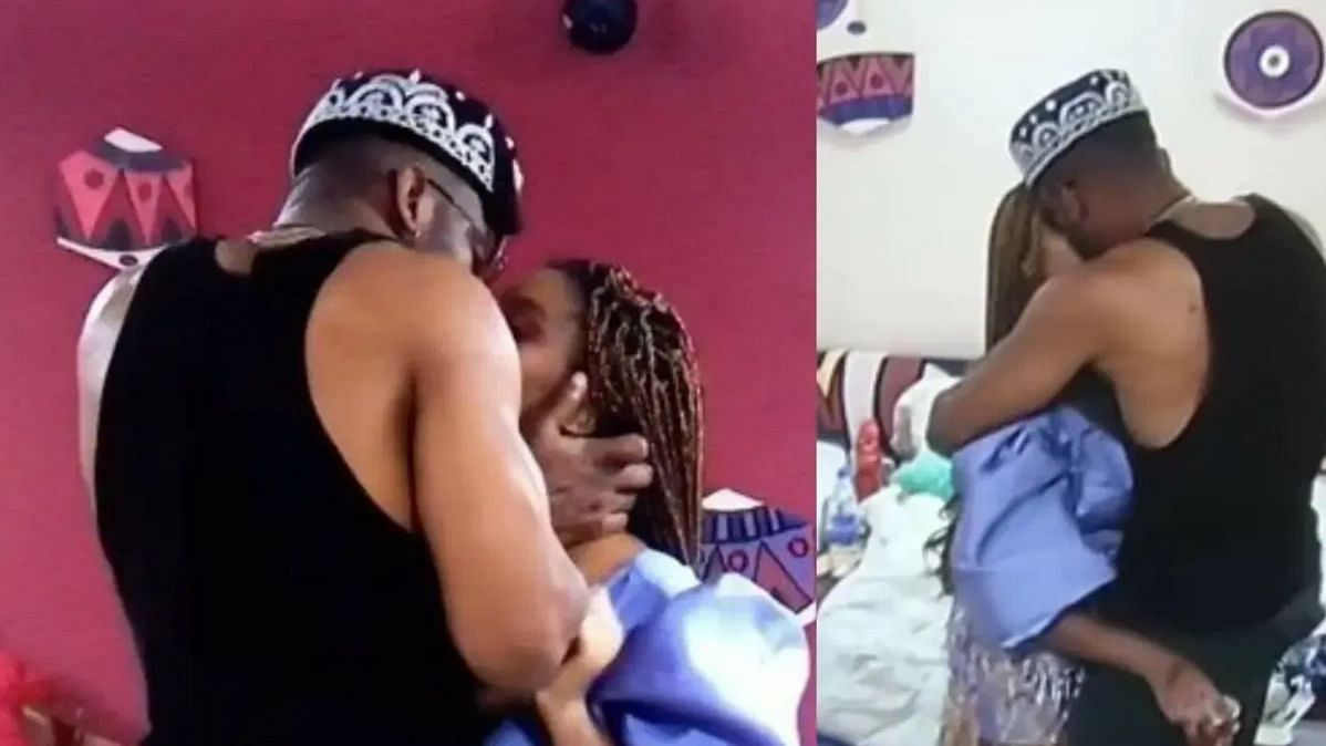 [VIDEO] BBNaija: Angel, Cross share passionate kiss after Saturday night party