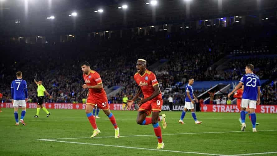 EUL: Osimhen bags brace, Ndidi sees red as Napoli hold Leicester