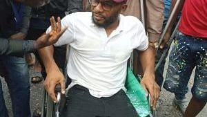 Physically challenged persons protest suspension of member from office