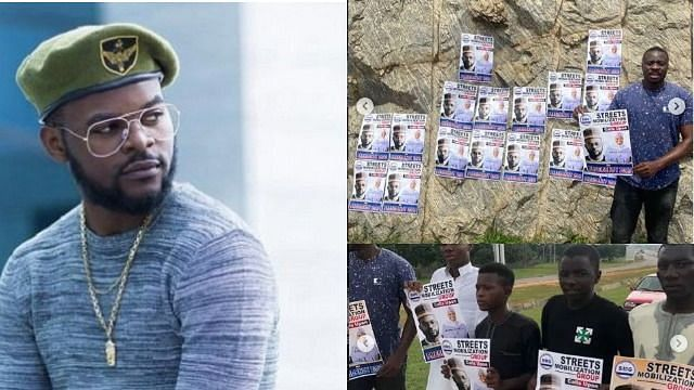 Falz, Aisha Yesufu's presidential campaign posters hit Abuja streets