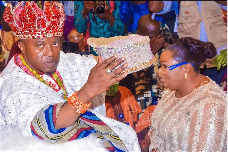 Dele Momodu's wife receiving her tittle