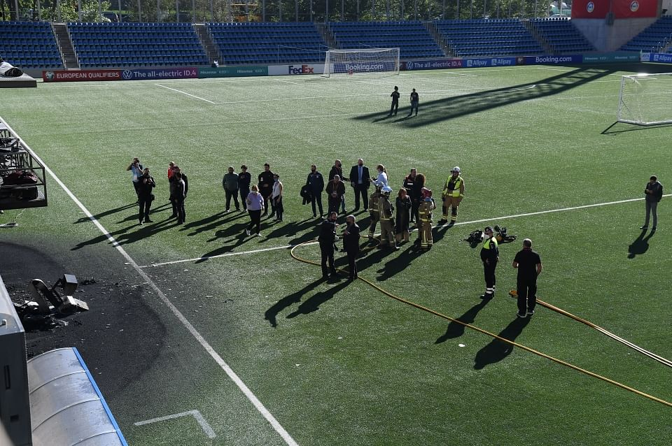AFTER: Part of the artificial pitch has been left scorched by the blaze, ahead of England's World Cup qualifier