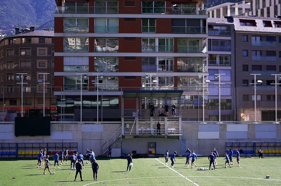 England players training before the fire